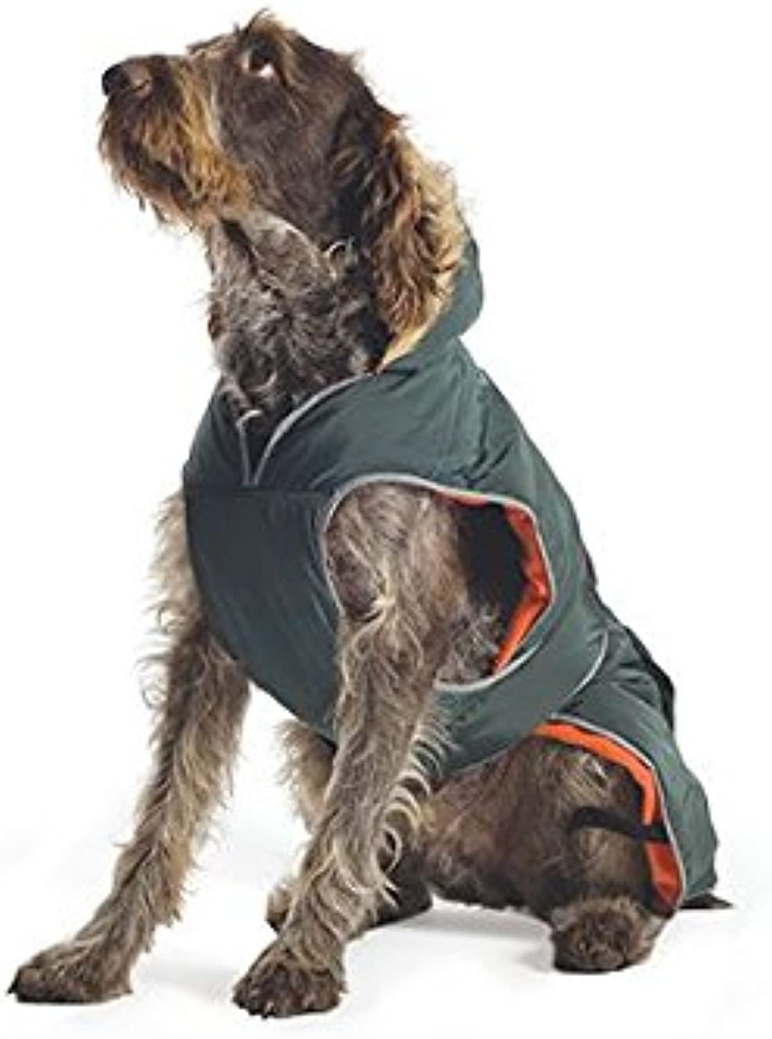 Ancol Muddy Paws Green Parker Parka with Chest Predector Puppy Dog Winter Jacket Large