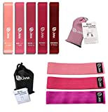 Limm Booty Resistance Bands for Working Out - Bundle of Limm Resistance Bands Exercise Loops (Set of 5, 12-inch Workout Bands) and Limm Booty Bands (Set of 3 Cotton/Cloth Fabric Bands)
