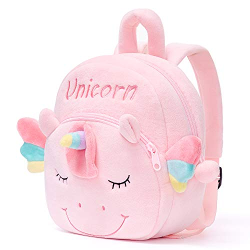 Gloveleya Unicorn Backpack for Girls Kids Backpack Plush Toy Gifts for Baby Napkins Books Bag Pink 9 Inches