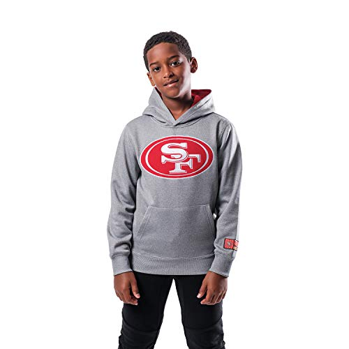 Ultra Game NFL San Francisco 49ers Youth Extra Soft Poly Dry Fleece Pullover , Heather Gray, Large