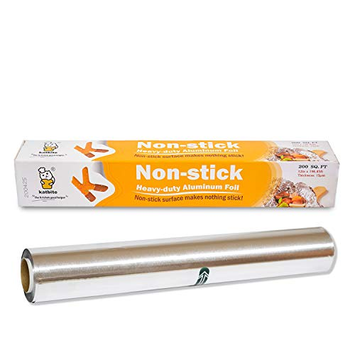 Katbite 200 SQ FT Nonstick Aluminum Foil Roll, 12 Inch Grilling Foil Wrap for Cooking, Roasting, BBQ, Baking, Catering with One-Side Nonstick Coating