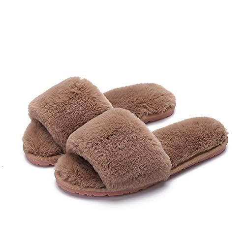 N\C Zapatillas De Felpa De Conejo De ImitacióN, Zapatos De AlgodóN De Gran TamañO para Interiores, Invierno, Hogar, TendóN De Carne, Piso Inferior, Chanclas para Mujer