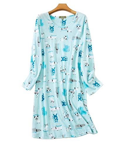 Camisones Mujer Algodon Manga Larga Camisón Vestidos (Azul,XL-XXL)