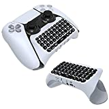 PS5 Controller Keyboard Keypad, Wireless Chatpad, Rechargeable Online Gaming Live Chat Message KeyPad with Built in Speaker & 3.5mm Audio Aux-in, Best Gamepad for Playstation 5 Controller