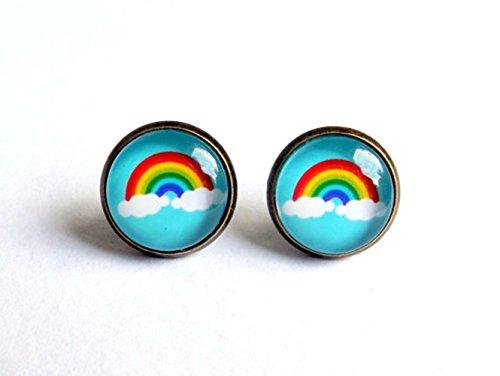 Pendientes de tuerca de arco iris con diseño de nubes, arte de la naturaleza