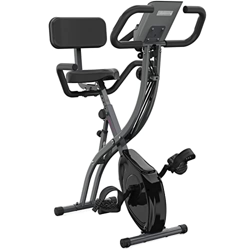 Ps Folding Exercise Bike ,Stationary Fitness Cycling With Bands /Pulse Sensor/Large Seat Aerobic Training For gym home &workout bike