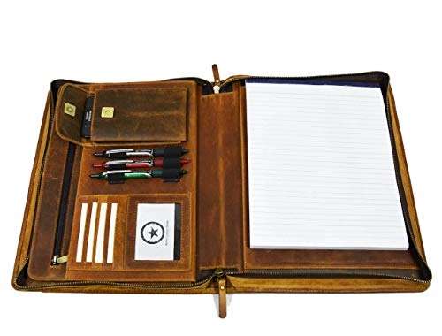 Zippered Genuine Leather Business Portfolio | Easy to Carry Organizer...