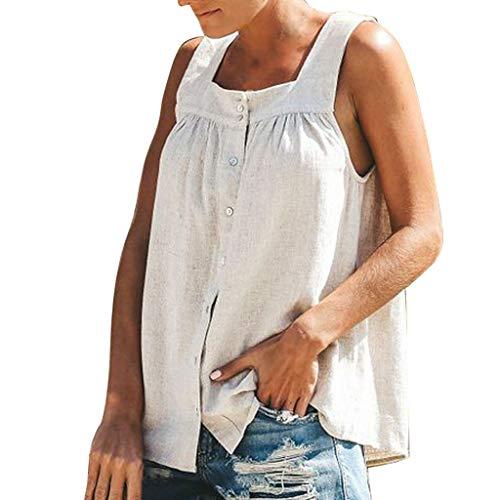 Damen Sommer T-Shirt mit V-Ausschnitt Feste Knopfweste lose beiläufige ärmellose Blusen Tank Tops(weiß,XL)