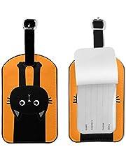 ネームタグ 荷物タグ 背伸び 猫 ねこ ラゲージタグ バゲッジタグ 旅行 かわいい おしゃれ スーツケースタグ 名札 PUレザー 耐久性 目立つ 個性 YAMAYAGO