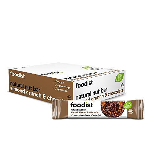 Foodist BIO Vollnussriegel Almond Crunch Dark Chocolate, glutenfrei, vegan, Nut Bar mit 100 % natürlichen Zutaten - 12er Pack (10 x 40g)