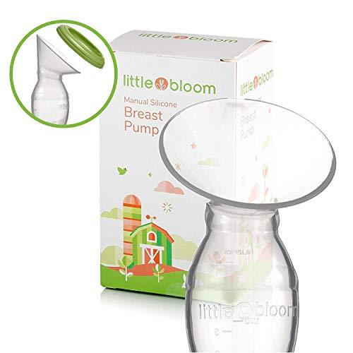 Silikon Milchpumpe von Littlebloom - 100% BPA frei - manuelle Muttermilchpumpe mit Verschluss plus Deckel für Aufbewahrung und Silikon Handmilchpumpe