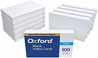 Oxford Blank Index Cards, 4 x 6 Inches, White, 10 Packs of 100 (40)