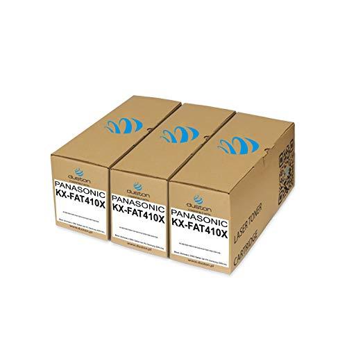 3X KXFAT410X, KX-FAT410X Toner negro regenerado Duston compatible con impresoras Panasonic KXMB1500 1508 1510 1520 1518 1528 1530 1536 1538