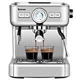 COSTWAY Semi-Automatic Espresso Machine, 20 Bar Pump, Built-In Milk Frother and Steamer, 10s Preheating, PID Temperature Control, 2L Removable water tank, Drip Tray, Stainless Steel Pressure Coffee Brewer, Countertop Cappuccino Maker for Home, Office