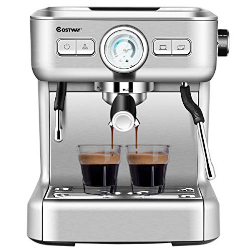 Best Prices! COSTWAY Semi-Automatic Espresso Machine, 20 Bar Pump, Built-In Milk Frother and Steamer...