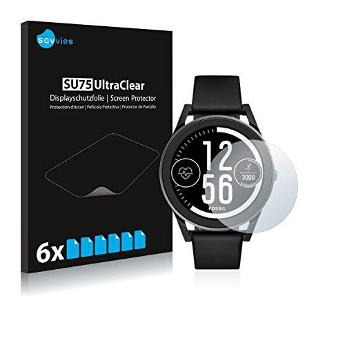 Savvies 6X Schutzfolie kompatibel mit Fossil Q Control (3.Gen) Bildschirmschutz-Folie Ultra-transparent