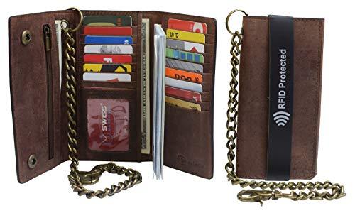 Men's RFID Signal Blocking Biker's Vintage Brown Leather Long Tri-fold Chain Checkbook Card ID Wallet