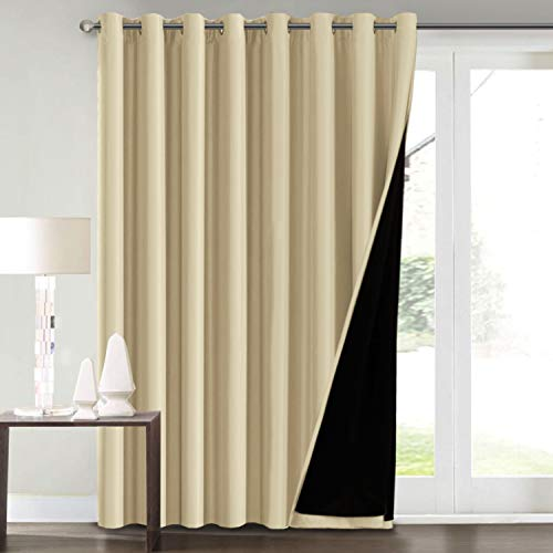 "100% Blackout Curtains for Living Room Extra Wide Blackout Curtains for Patio Doors Double Layer Lined Drapes for Double Window Thermal Insulated Curtains/Draperis - Wheat, 100"" x 96"""