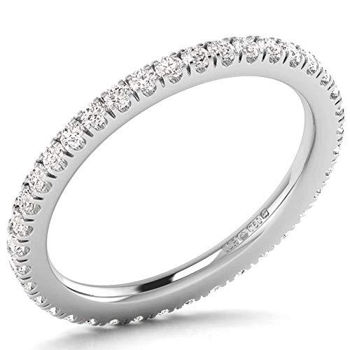 F/VS Anillo de boda de 0,50 quilates, redondo, con diamantes de corte brillante en oro blanco de 18 quilates, con sello de Assay Office London