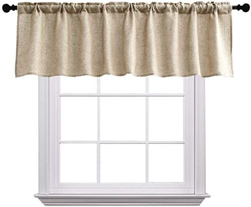 Curtain Valances for Windows Burlap Linen Window Curtains for Kitchen Living Dining Room 58 product image