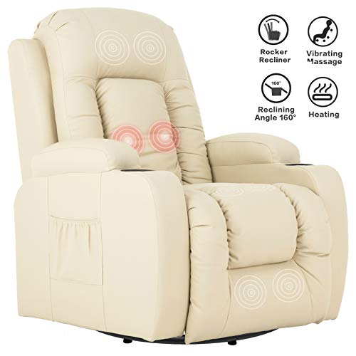 Mecor Massage Recliner Chair PU Leather Rocker with Heat 360 Degree Swivel Single Sofa Seat Ergonomic Lounge with Cup Holders/Side Pockets/Remote Control for Living Room (Beige)