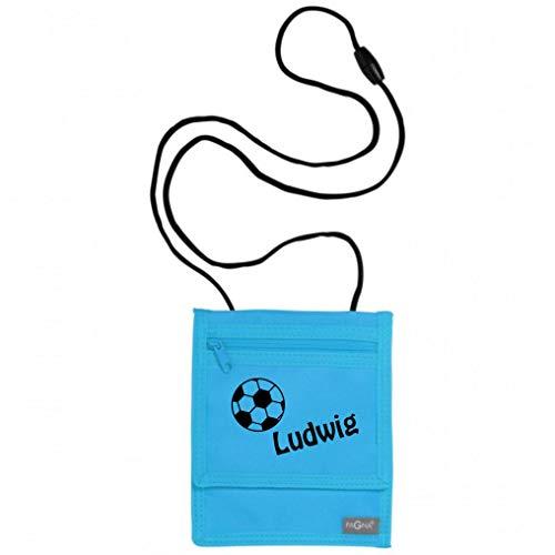 Brustbeutel mit Namen | inkl. NAMENSDRUCK | Motiv Fußball & Name personalisiert & Bedruckt | Geldbörse Kindergeldbeutel Münzfach für Kinder Jungen mit Klettverschluss zum Umhängen