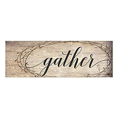 Gather Rustic Wood Wall Sign with Wreath Design 6x18