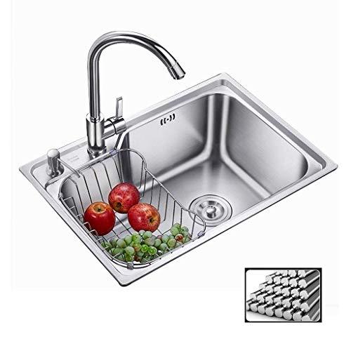 Küchenspülen Waschbecken Küchenwaschbecken aus Edelstahl Taoyuan Becken Dickes Einzelbecken mit Wasserhahn Pool Doppelschale (Farbe: Silber, Größe: 62x44x20cm)