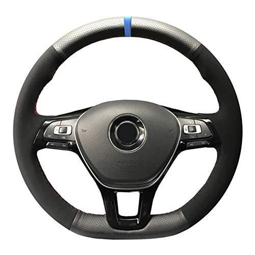 MDHANBK Cubierta de Volante de Gamuza de Cuero de Fibra de Carbono Negra Cosida a Mano DIY, para Volkswagen VW Golf 7 Mk7 Nuevo Polo Jetta Passat B8
