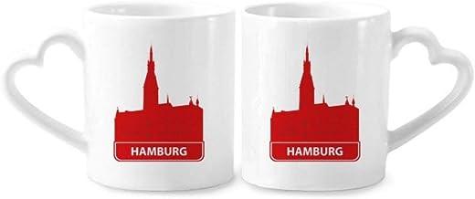 cold master DIY Hamburg Germany Red Landmark Couple Mugs Ceramic Lover Cups Heart Handle 12Oz Gift