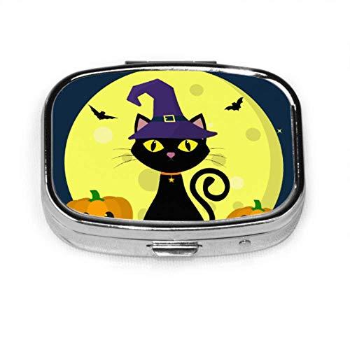 Schwarze katze hexen für halloween pillendose männer case medizin tablet halter wallet organizer case für tasche oder geldbörse