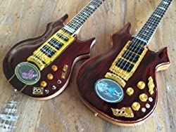 Set of 2 Jerry Garcia Tiger and Rosebud Signature Miniature Guitars