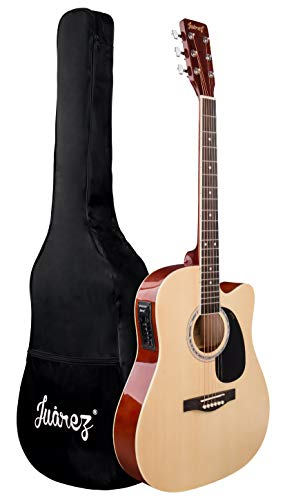 JUAREZ Arpéggio 41 Inch Semi-Acoustic Guitar Kit, Thin Line Body, Spruce Top, with 4 Band EQ, Natural
