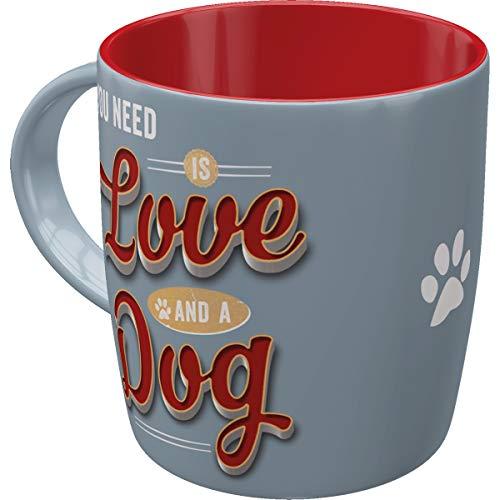 Nostalgic-Art Retro Kaffee-Becher - PfotenSchild - Love Dog, Große Lizenz-Tasse mit PfotenSchild-Motiv, Vintage Geschenk-Idee für Hunde-Fans, 330 ml
