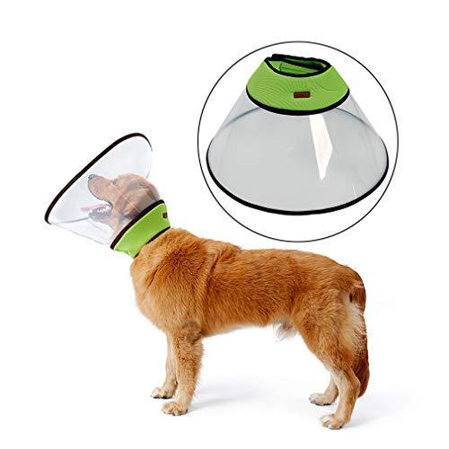 Einstellbare Haustier Erholung Collar Comfy Cat Kegel, Soft Edge Kunststoff Hunde Cone Anti-Biss lecken Wundheilung Sicherheit Praktische Schutz E-Collar,Grün,XXXL