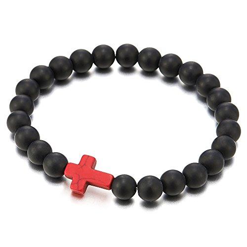 COOLSTEELANDBEYOND Mens Women Stretchable Matt Black Onyx Beads Bracelet with Charm of Red Cross, Prayer Mala