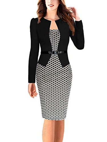 Women's Colorblock Slim Bodycon Business Pencil Dress (Black+Houndstoothl,M)