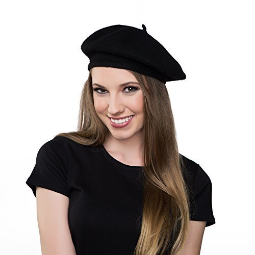Kangaroo Wool Black Beret Hat - French Beret, Black, Size One Size