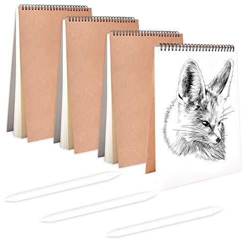 4PCS Cuaderno de Bocetos en Espiral Negro Bloc de Dibujo A5 Cubierta de Papel Kraft Bloc de Bocetos en Blanco + 3 pcs Bolígrafos de Papel para Dibujar Escritura (A5x4)