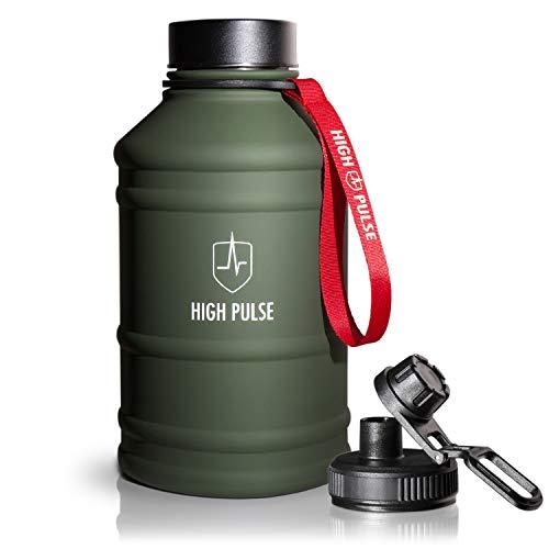 High Pulse Botella de Agua XXL de acero inoxidable con accesorio para beber + tapa (2,2 l) - botella a prueba de fugas para su entrenamiento de fitness y fuerza - 100% libre de BPA