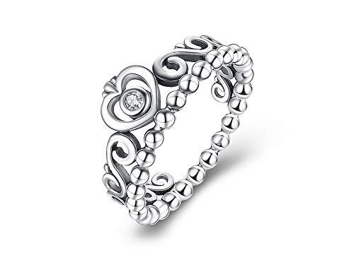 HJ Anillos lindos anillos de tamaño de anillo de plata de ley 925 para mujer, corona de princesa, circonita cúbica, anillos 7