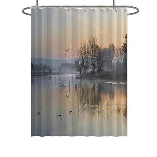 Hitecera Landscape of Lake in Mist with Sun Glow at Sunrise,Bathroom Decor Set 078110 with Hooks 72 in by 96 in (WxH)