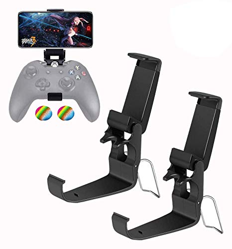 Foldable Mobile Phone Holder Clip for Xbox One Controller, Cellphone Clamp Mount Compatible with Xbox One S, Xbox One X, Steelseries Nimbus, iPhone/Samsung/Sony/LG/Huawei (Black 2-Pack)