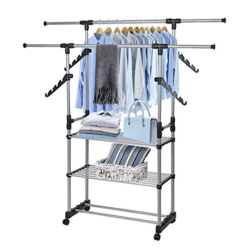 LUCKYERMORE Collapsible Clothes Rack Double Rod Adjustable Lightweight Garment Rack with 3 Storage Shelf