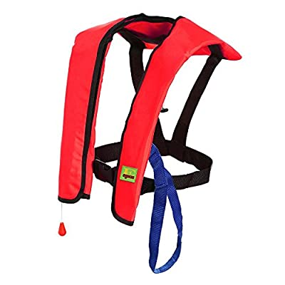 Premium Quality Automatic/Manual Inflatable Life Jacket Lifejacket PFD Floating Life Vest Inflate Survival Aid Lifesaving PFD Basic Red Color