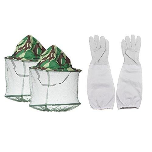 Imker Handschuhe und Maske Gap Hat, ein Paar Ziegenleder Bienenzucht Schutz Handschuhe mit Belüftete Ärmel und 2Pack Camouflage Bienenzucht Maske Gap Hat perfekt für den Anfänger Imker