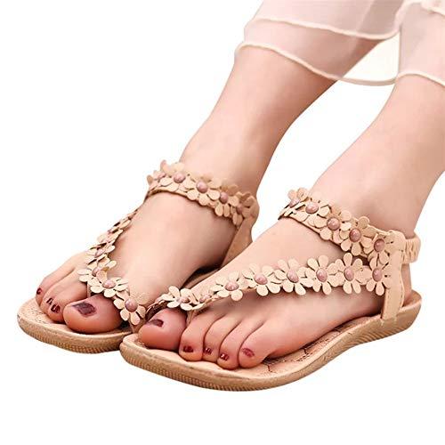 Summer Sandals for Women 2020 Women s T-Strap Beaded Flower Rhinestone Flat Sandals Dress Beach Shoes
