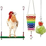 WDSHCR Chicken Toys Chicken Swing and Chicken Bird Xylophone Toy - Wood Stand for Hens Handmade Chicken Coop Swing Ladder Toys Vegetable Hanging Feeder for Chicken 3PCS