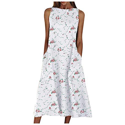 YANFANG Vestido Largo Sin Mangas Holgado con Bolsillo para Mujer Retro Estampado De Cuello Redondo,con Flores, Playa,Negro,Blanco,Gris,Verde