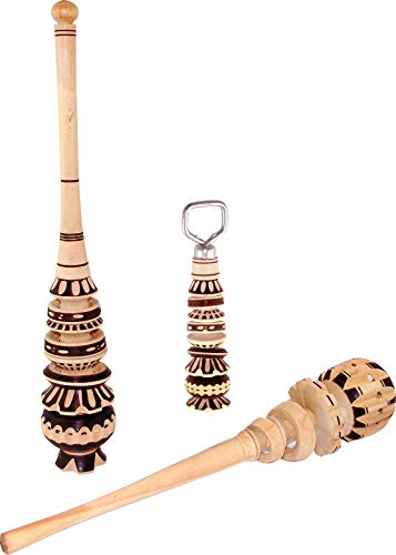 Handcrafted Mexican Molinillos Set, 2 Traditional Wood Stirrer Whisk for Hot Chocolate and 1 Bottle Opener